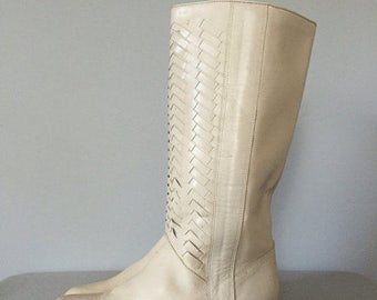 40% OFF SALE... herringbone tall leather boots | 1970s pirate boots | 8.5