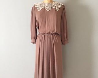 mocha dress | lace collar semi sheer dress
