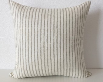 Ticking Gray Stripes Vintage Wash Pillow Cover