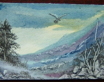 aceo art painting original watercolour landscape. (ref 394)