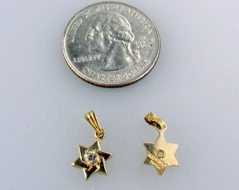 NOS Magen David - Star of David pendants with a brilliant gem GF