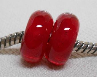 SRA Handmade Lampwork Bead Pair Charm Bracelet Beads Transparent Red