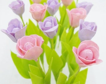 Miniature Polymer Clay Flowers Supplies Spring Tulip 16 stems