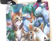 Cats kittens butterfly flower garden play funny kitty pet animal shopping tote shoulder bag lunch diaper handbag 2 side image zipper purse