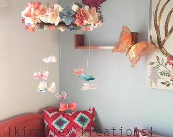 Butterfly + Flower Mobile - Baby Girl Nursery, Girls Bedroom Room Decor - All Colors Can Be Customized - Rustic Earthy Floral Wreath Mobile