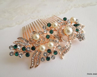 bridal pearl and Rhinestone Hair Comb, Wedding Rhinestone Hair Comb, Rose Rhinestone Hair Comb, Swarovski Crystals green Hair Comb, ROSSE