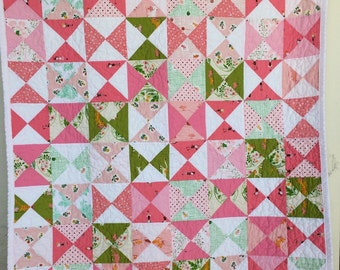 Modern Baby Girl Quilt, Tiny Ballerinas', Kitty Cats and Cows in this Hourglass Crib Quilt  by Dream Vintage Sheets