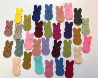 Wool Felt Die Cut Easter Bunnies 30 - 1-3/8 inch tall Random Colored. 3015 - Easter - Rabbit - Easter decor