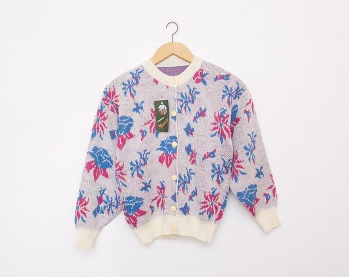 NOS vintage cardigan sweater floral