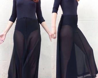 Des COMME tricot maxi jupe Sz S GARCONS des années 1990 noir pure