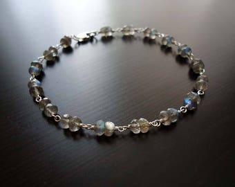 Labradorite Bracelet, Sterling Silver