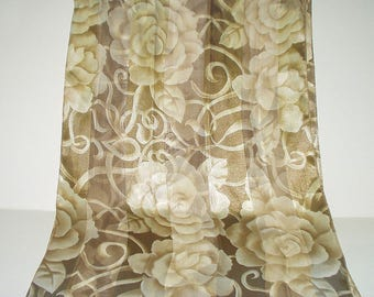 Vintage Scarf Long Tan Beige Off White Roses and Scrolls Print Retro Fashion Head Scarf Neck Purse Kerchief Scarf Accessory