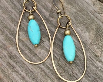 Turquoise Dangle Hoop Earrings With Hammered Antiqued Brass Hoops