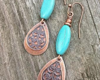 Turquoise dangle earrings, copper earrings, boho jewelry, copper jewelry, southwestern jewelry, drop earrings