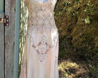 gypsy maxi - embroidered linen + crochet dress - hippy - bohemian - alternative romantic - palest peach - large / XL