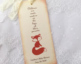 Fox Bookmarks Personalized Baby Shower Favors Birthday Set of 10