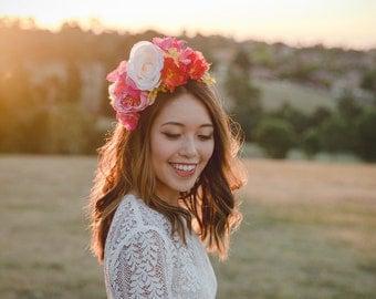 pink orange cream statement wedding flower crown // flower crown fascinator, spring racing flower crown, statement floral headpiece headband