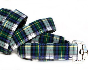 Plaid Dog Leash in Green, Navy Blue and White - Your Choice of Length