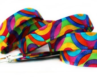 Colorful Dog Leash - Yellow, Pink, Purple, Blue, Pink, Orange and Turquoise - Your Choice of Length and Width