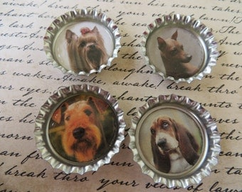 Dogs II Bottle Caps Magnets Or Pins Set