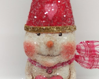 Valentine Snowman - Valentine's Day Gift - Paper Mache Snowman - Whimsical Snowman - Folk Art Snowman