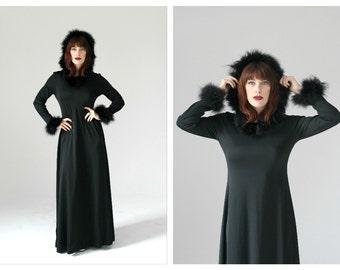 60s Black Feather Hood Dress- Marabou, M/L, Maxi Goth Fuzzy Club Kid Long Dress