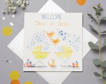 Personalised New Twin Babies Card