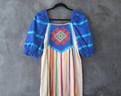 15% Off Out of Town Sale 70s Mexican Ribbon Kaftan Embroidered Dramatic Puff Sleeves Bohemian Hippie Rainbow Dress Ladies Size S/M