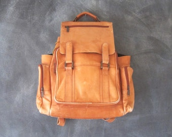 Large Backpack Rucksack Rugged Distressed Leather Vintage Grunge Tan Leather 1990s