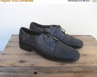 15% Off Out of Town Sale 90s Square Toe Brogue Oxfords Woven Leather Flats Lace Up Made in Italy by Sesto Meucci Ladies Size 9