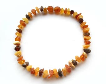 """10.2"""" Natural Baltic Amber child necklace, raw beads, teething necklace, anclet"""