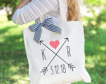 Wedding Tote Bags Bridesmaids Gifts for Bride and Friends, Boho Arrow Favor Bags for Wedding Guests and Friends (Item - BAW300)