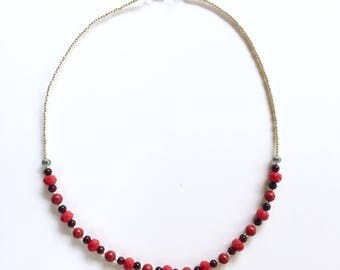 Red and Silver Beaded Necklace