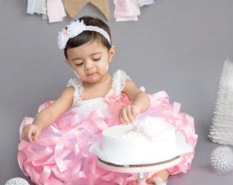Baby Girls Tutu Skirt, White Tulle Skirt, Little Girls Tutus, First Birthday Tutu, Pink and White Baby Tutu, Ribbon Tutu, Baby Girl Tutu