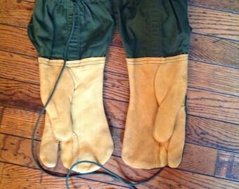 Vintage 1965 Military Mitten Shells Trigger Finger Gloves Leather