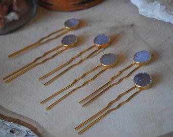 DRUZY HAIR PINS /// 24kt Gold Electroformed Hair Pins