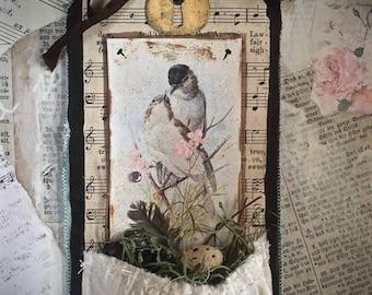 Tag Art ~ 'Loving Nest' a romantic pocket of nature by Christine LeFever