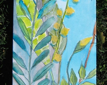 """Nature painting YELLOW FLOWERS original abstract painting-Green LEAVES - 8""""x24"""" yellow blue green by devikasart"""