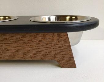 4 inch high elevated dog feeder - raised dog feeder - raised dog bowls - modern minimal feeder - feeding stand - black/walnut