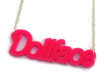 Pink Dollface Acrylic Necklace, Hot pink, girly, script necklace, Rockabilly, Pinup, Retro