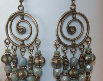 Aqua and Antique Gold Chandelier Earrings