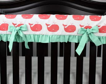 Coral Whales With Mint Ruffles Rail Guard, Baby Girl Coral Rail Guard, Coral and Mint Nursery, Whales Nautical Nursery, Ocean Animal Nursery