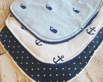 Baby Boy Bandana Bib - Baby Bib Set - Drool Bib - Baby Shower Gift - Navy White Baby Bib - Nautical Baby Bib