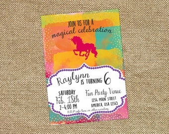 Unicorn Magical Birthday Invite