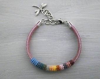 Girls Friendship Bracelet, Best Friend Bracelet, Rose Suede Bracelet Dragonfly Charm, hippie jewelry colorful crochet