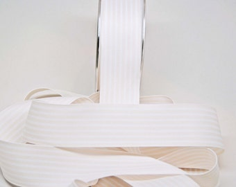 Striped Grosgrain Ribbon -- 1.5 inches -- White Cream Ivory