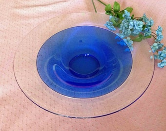 Orrefors Bowl, Incalmo Cobalt Bowl, Blue and Clear Shallow bowl, MINT condition, Art Glass Bowl