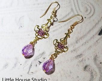 Victorian Earrings, Rose Crystal, Pink Earrings, Swarovski, Victorian Style, Dangle Earrings, Crystal Earrings, Beaded Dangle Hoop, Gift