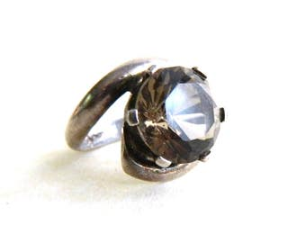 Vintage Modern Sterling Silver Smokey Gray Quartz Ring - Round Faceted Quartz Solitaire - Mexican Sterling - Size 5.75 - ESTATE