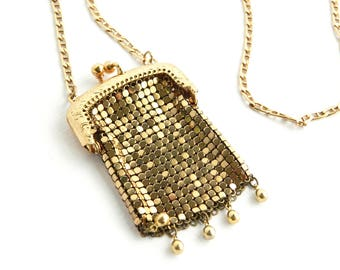 """Vintage Gold Mesh Chainmail Bag Necklace Pendant - Chatelaine Etched Gold Frame Purse Kisslock Coin Purse - 3 1/4"""" - Whiting Davis Style"""